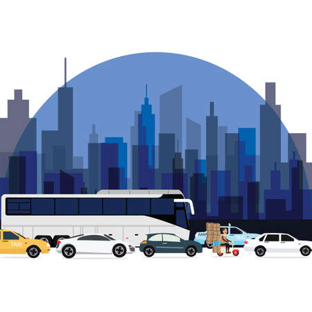 crowded street: traffic jam around town cars bus and motorcycle lining with high rise building as background vector Illustration