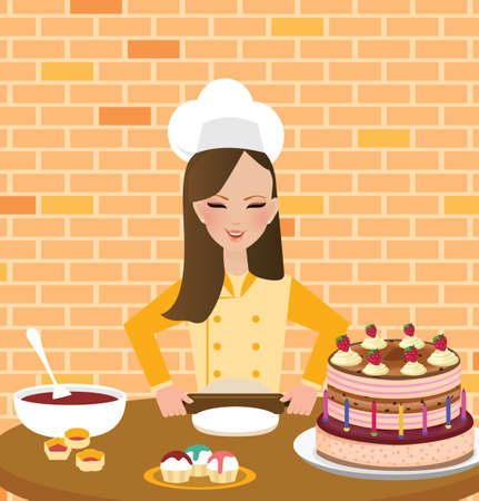 chef kitchen: girls woman chef cooking baking cake in kitchen wearing hat and apron vector