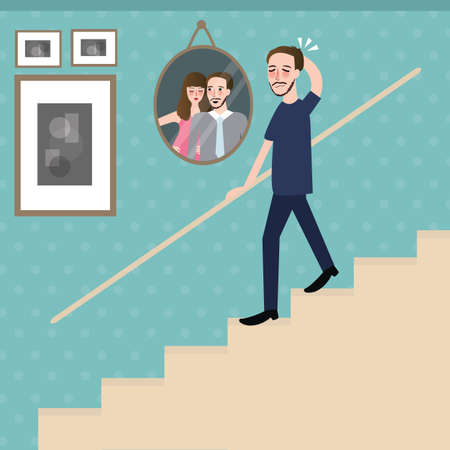 staircase: man walking on stairs feel sad lonely looking at photo of couple remember their memory vector