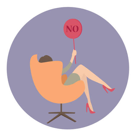 say: woman business say no show sign vector