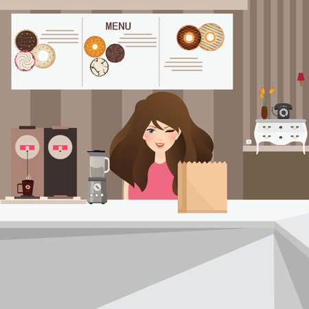 donut shop: woman female customer smile in cafe with donuts and coffee in background interior vector Illustration