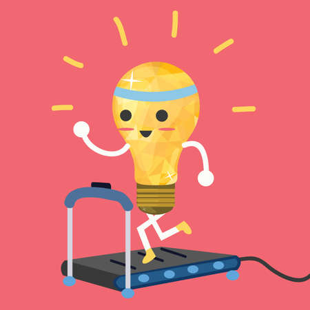 no person: testing ideas light bulb having exercise in treadmill make it strong vector
