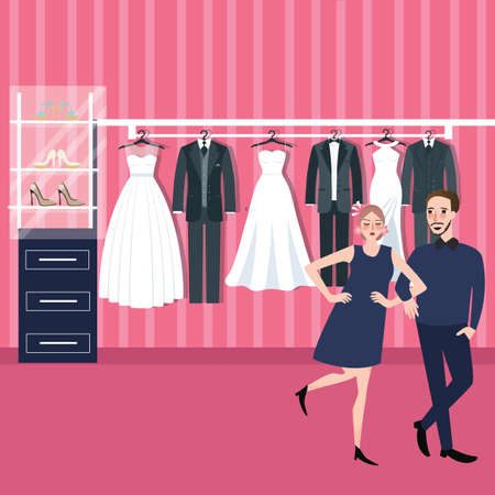 fitting: couple man woman select wedding dress in bridal store fitting dresses Illustration