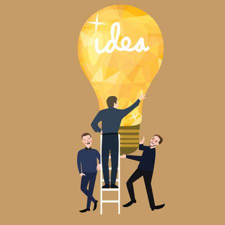 juntos: trabajando juntos el trabajo en equipo concepto de negocio que las ideas bombilla éxito de la formación de equipos