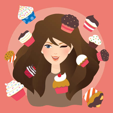cup cakes: woman with cup cakes illustration