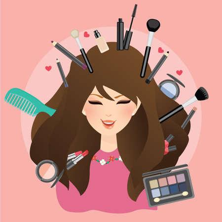 make up eyes: woman girl female smile with make up around glamour lipstick eye shadow blush on powder brush Illustration