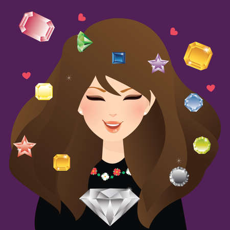 jewels: woman girl female smile with diamond crystal and gem stone flying around glamour jewels sapphire Illustration