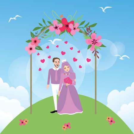 paar getrouwde vrouw van het mohammedanisme meisje dragen van de sluier huwelijk bruiloft