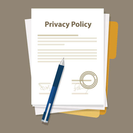 policy document: privacy policy document paper legal aggreement signed stamp paper