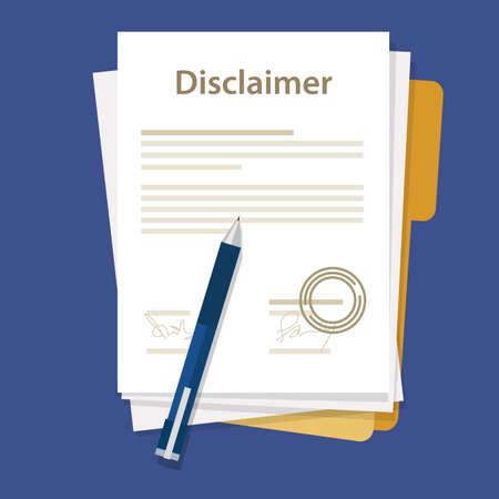 disclaimer document papier Overeenkomst te ondertekend zegeldocument juridische