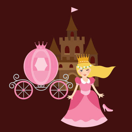 cinderella: princess cinderela with shoes carriage and castle behind illustration
