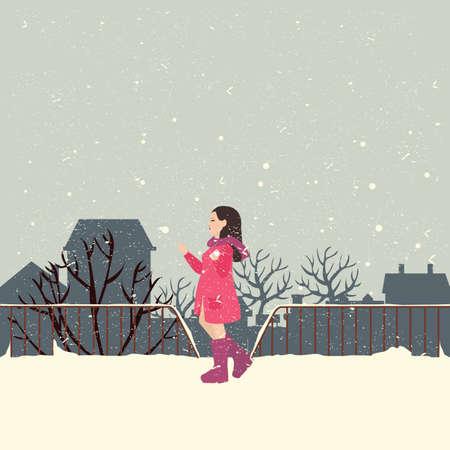 enjoy: girls wearing jacket in snow enjoy cold weather illustration Illustration