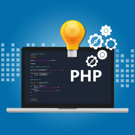 web screen: PHP programming language syntax for web coding script in screen vector