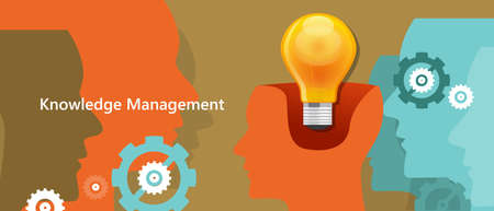 managing: knowledge management concept idea lamp inside brain symbol of strategy in managing human capital vector