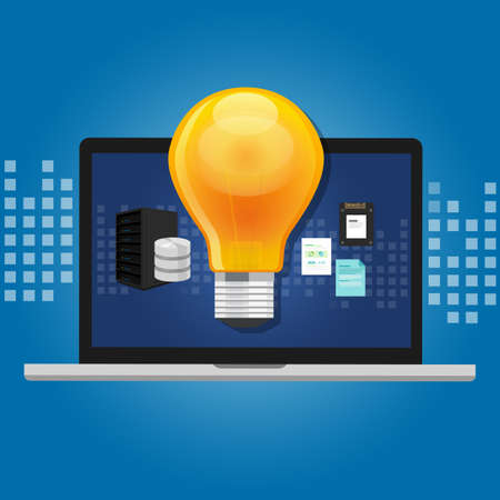insights: knowledge management concept idea lamp inside computer storage technology system software media with items such as database server file data vector