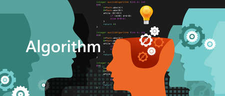 computer algorithm computer science problem solving process with programming language code concept light bulb and gear vector Vettoriali