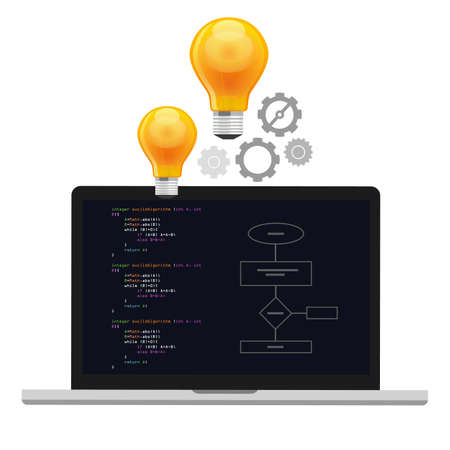 computer code: computer algorithm computer science problem solving process with programming language code concept light bulb and gear Illustration