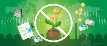 prohibition of riba or compound interest in Islamic banking money investment vector Illustration