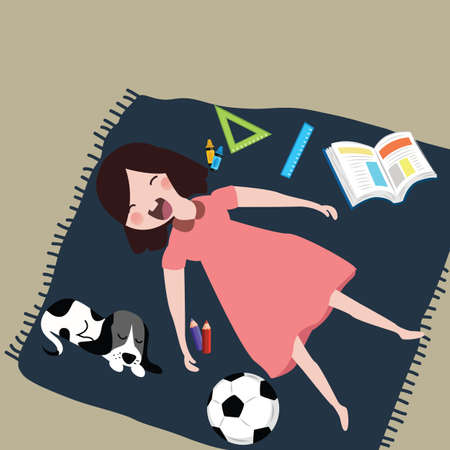 child laughing: kids girls smile laughing while sleeping with her cat after study around it pen ball book and pen vector