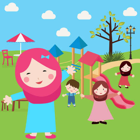 kids Islam girls and boys having fun in park wearing veil with sliding and tree vector Illustration
