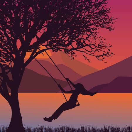 girl on swing: girl swing in tree near lake during sunset enjoy time moment silhouette vector