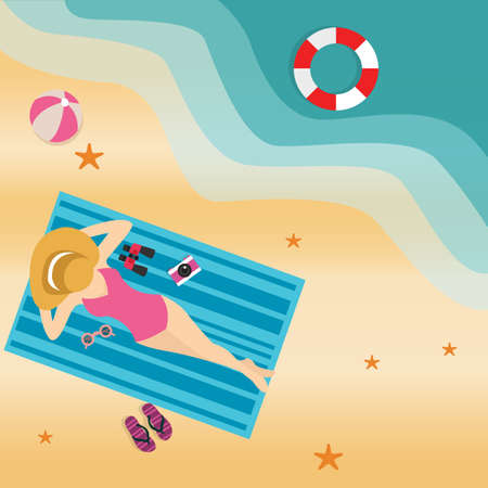 sun tanning: girl woman lying at beach sand sun tanning wearing hat view from top vector