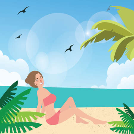 sun tanning: girl woman pose at beach sand sun tanning wearing bikini with palm tree around vector Illustration