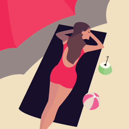 sun tanning: girl woman lying at beach sand sun tanning under umbrella shadow vector Illustration