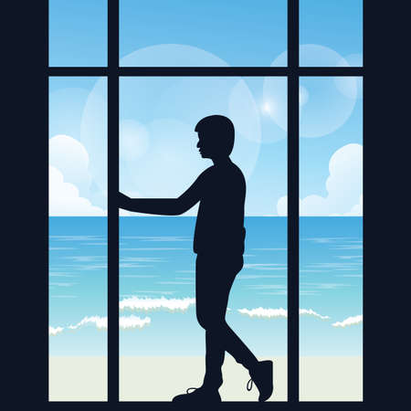 alone in the dark: man boys silhouette alone looking to the sea open area from big window in the dark thinking vector