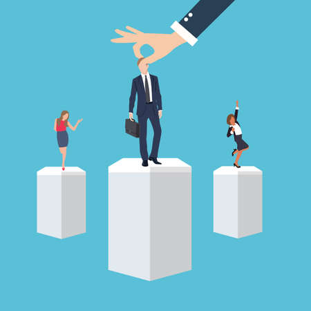 the applicant: business management employee worker executive human resource put right man in the right place position select applicant during recruitment process vector Illustration