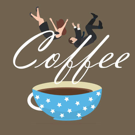 coffee addict people business fall into cup vector Illustration