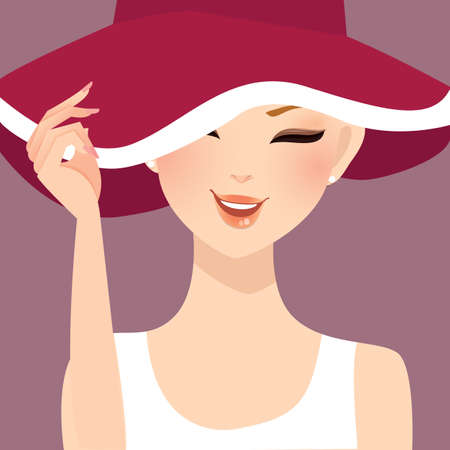 woman smile: beautiful woman lady female wearing hat smile illustration vector