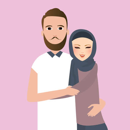 veiled: Islam couple married man woman wear veil scarf vector Illustration