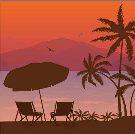beach sunset: beach sunset two chair palm tree and umbrella silhouette vector Illustration