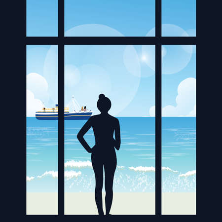 sea view: silhouette of woman standing looking to sea view with boat from her apartment big window vector Illustration