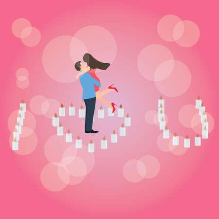 closeness: I love you heart shaped candle couple hug romantic moment vector Illustration