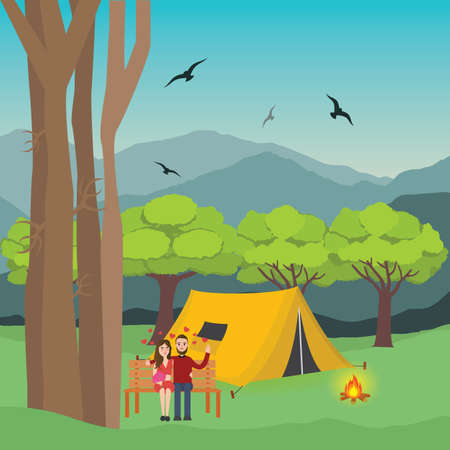 couple camping in forest man and woman with fire in front of the tent and mountain trees at the background vector Illustration