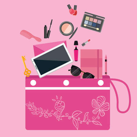 pouch: make up cosmetics tools collection inside girls bag purse pouch pink color vector