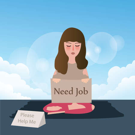 unemployed: woman need job asking for help write in cardboard vector Illustration