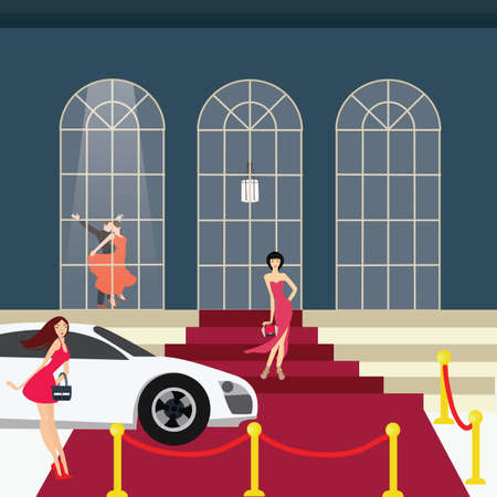 wealthy lifestyle: red carpet girl from car glamour party vector Illustration