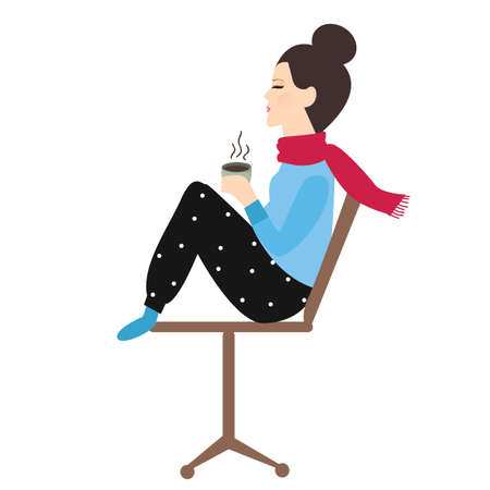cold: woman holding coffee tea mug in chair enjoy her drink in cold weather vector Illustration