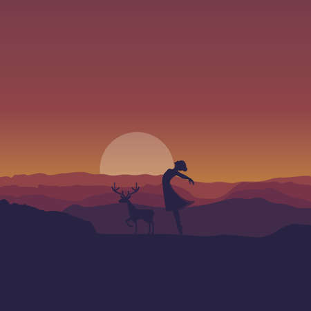young woman ballerina ballet dancing silhouette in sunset wildlife background vector