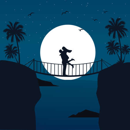 man on the moon: man woman couple hug silhouette with moon in the background at bridge romantic scene vector