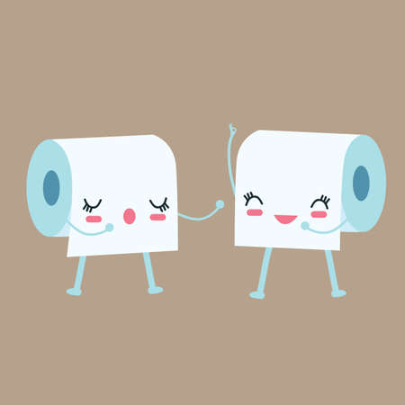 toilet paper art: tissue toilet paper character talk to each other vector