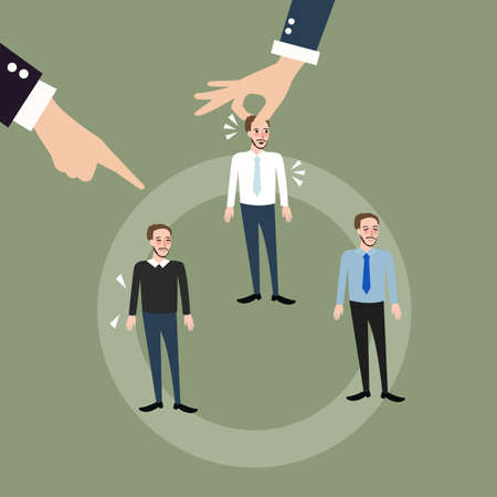 replacing: man employee hand pick replacing position rolling rotation mutation vector Illustration