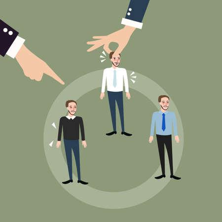man employee hand pick replacing position rolling rotation mutation vector Stock Illustratie