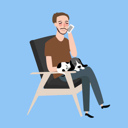 calling on phone: man sitting together with his cat in vintage chair calling phone vector