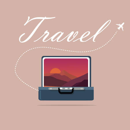 window case: travel case open picture of landscape sky and sunset sunrise traveling symbol of journey exploration vector