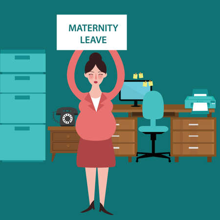 absent: maternity leave parental pregnant woman get paid during pregnancy absent vector