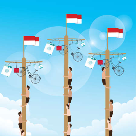 climbing game with hanging prize at the top Indonesian celebrate independence day vector Vettoriali